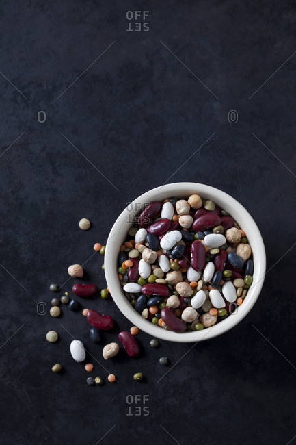 Bowl of mixed pulses