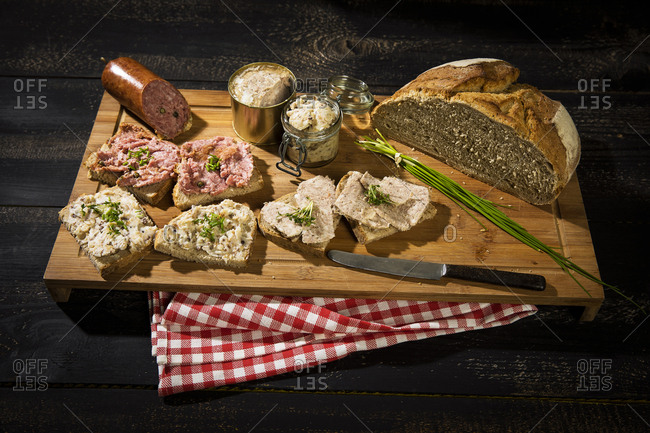 Crusty bread- crackling fat- liver sausage- minced and pork sausage