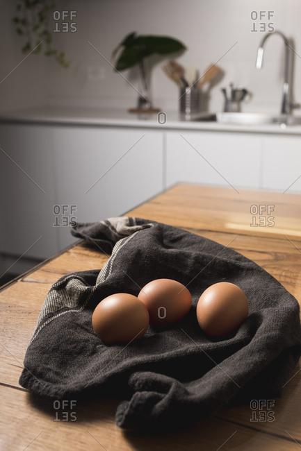 Brown eggs- kitchen towel