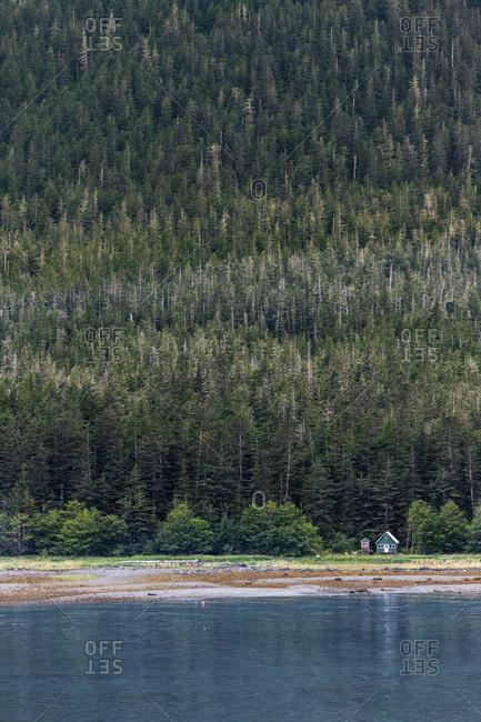 USA- Alaska- Juneau- House and trees near Auke Bay