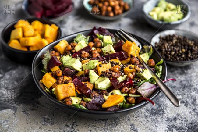 Superfood salad- avocado- beetroot- roasted chickpea- sweet potatoes- beluga lentil and blood orange