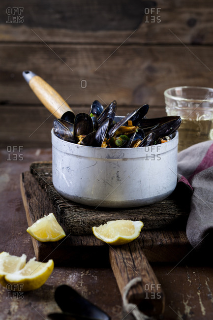 Blue mussels in cooking pot