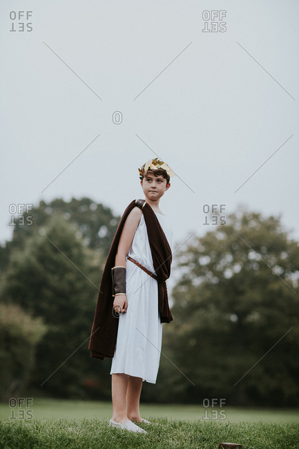 Portrait of young boy dressed as Roman emperor