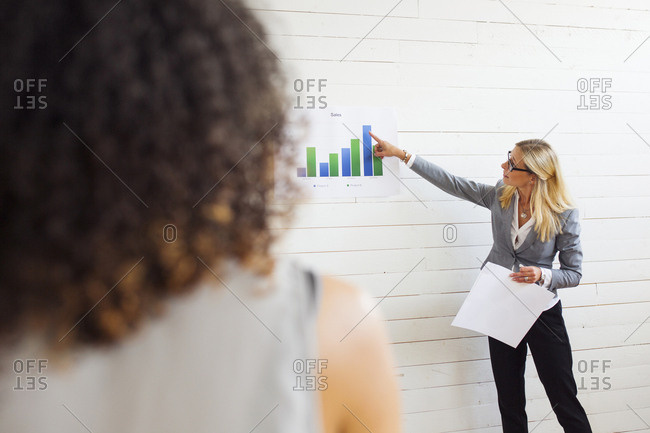 Woman giving presentation showing charts