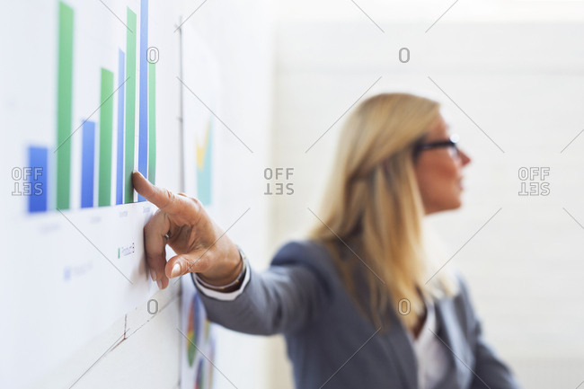 Woman giving presentation about companies sales statistics