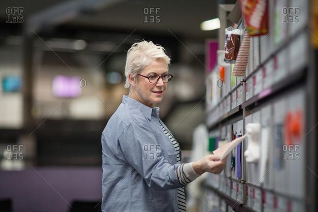 Designer choosing materials
