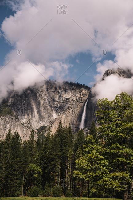 Idyllic view of Yosemite Falls amidst mountain at Yosemite National Park