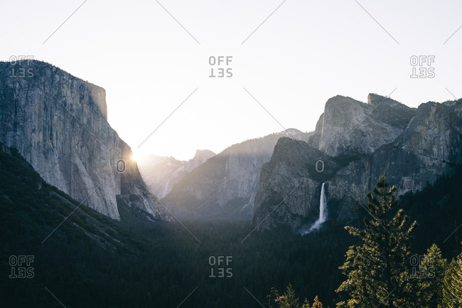 Scenic view of mountain range against clear sky at Yosemite National Park