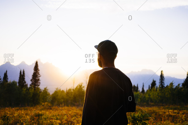Rear view of male hiker standing on field watching sunset