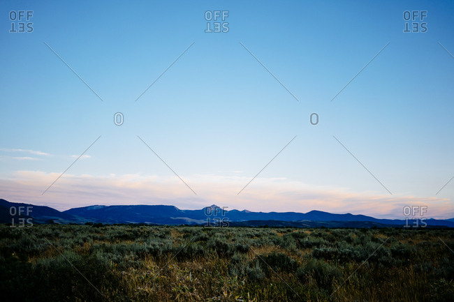 Scenic view of grassy field on mountain against clear sky during sunset at Grand Teton National Park