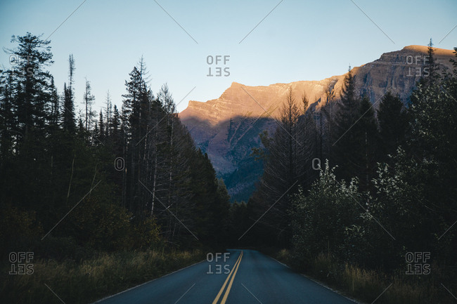 Empty road amidst trees leading towards mountains at Glacier National Park