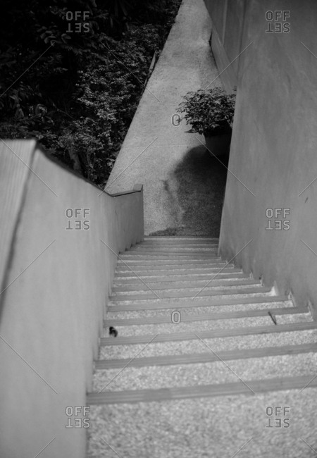 Looking down exterior stairway in black and white