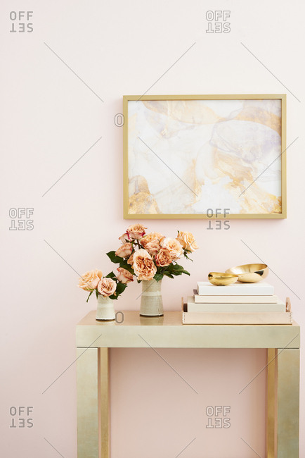 Roses on Gold Console