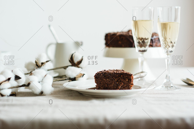 Slice of homemade chocolate cake served with white wine