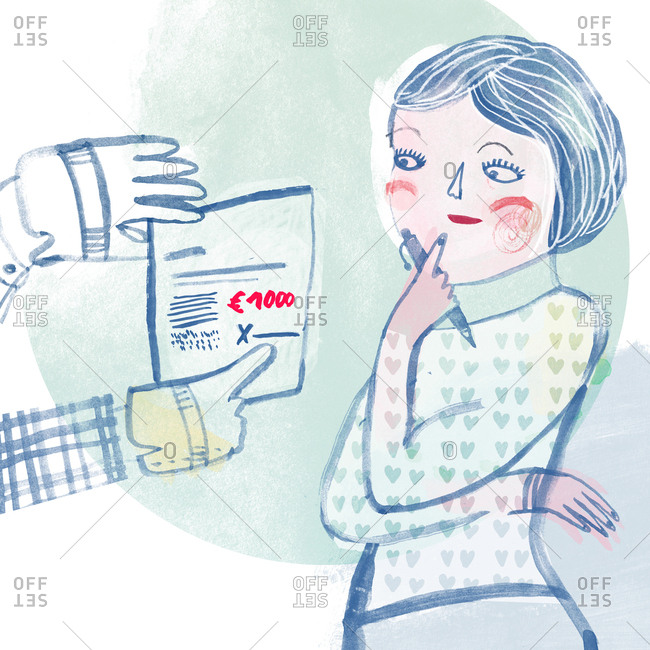 A woman considering signing a contract