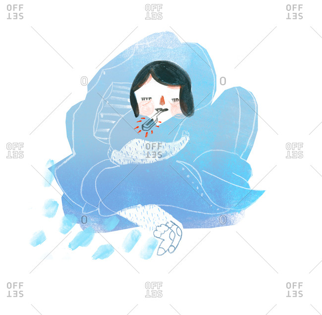 A woman having a cold and nestling up in blankets