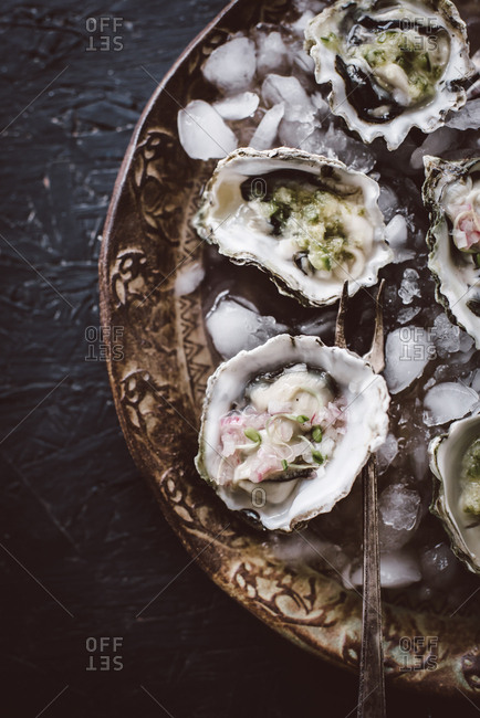 Close up of oysters served on ice