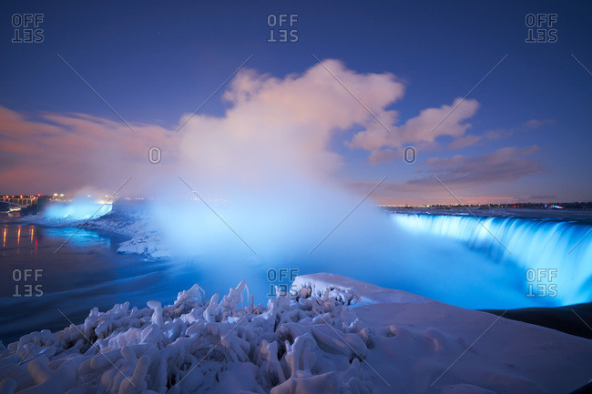 Blue lights illuminated at Niagara Falls