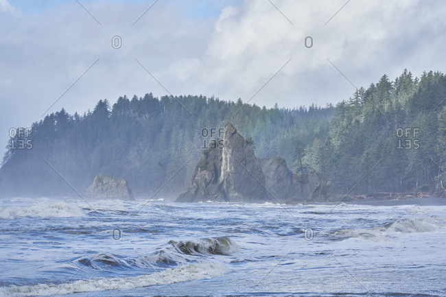 Rock formation on the coast of Olympic National Park, Washington