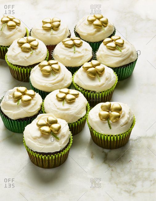 Saint Patrick's Day chocolate stout cupcakes