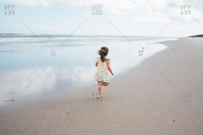 Little girl walking along beach shoreline alone watching seagulls