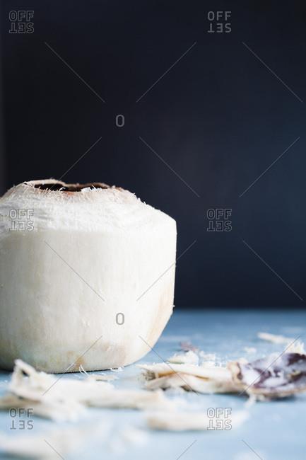 Fresh coconut with dark background