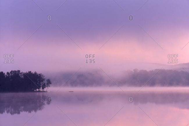 Keninsis Lake, Ontario, Canada - October 5, 2005: A Peaceful Water Mist