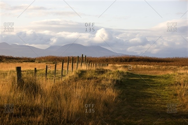 Argyll and Bute, Scotland - October 30, 2008: Countryside With Mountains In The Distance, Argyll And Bute, Scotland