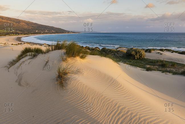 Tarifa, Cadiz, Andalusia, Spain - February 19, 2015: Punta Paloma Sand Dunes; Tarifa, Costa De La Luz, Cadiz, Andalusia, Spain