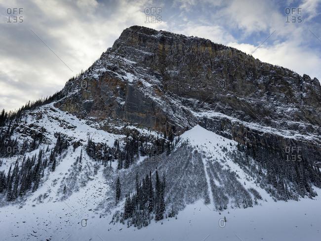 Lake Louise, Alberta, Canada - October 22, 2015: Rugged Mountain With Snow In Winter; Lake Louise, Alberta, Canada