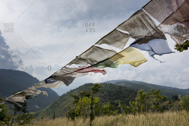 Punakha, Bhutan - October 12, 2014: Prayer Flags; Punakha, Bhutan