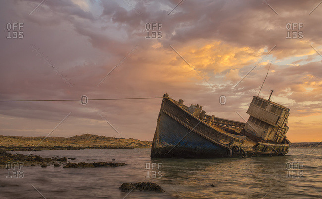 "Namibia - March 4, 2016: The ""elena"" Shipwreck Outside Of Luderitz; Namibia"