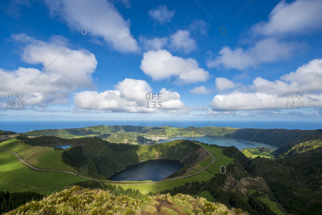Sao Miguel, Azores, Portugal - March 30, 2016: The Spectacular View From Sete Cidades; Sao Miguel, Azores, Portugal