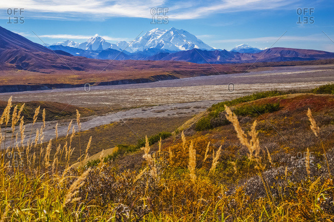 Alaska, United States of America - September 2, 2016: View Of Denali Above The Thorofare River In Denali National Park And Preserve; Alaska, United States Of America