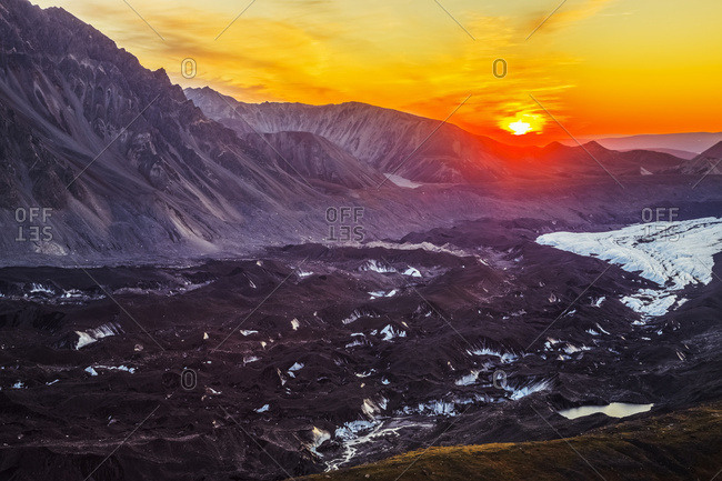 Alaska, United States of America - September 3, 2016: The Sun Sets Over The Muldrow Glacier In Denali National Park In Early Autumn; Alaska, United States Of America