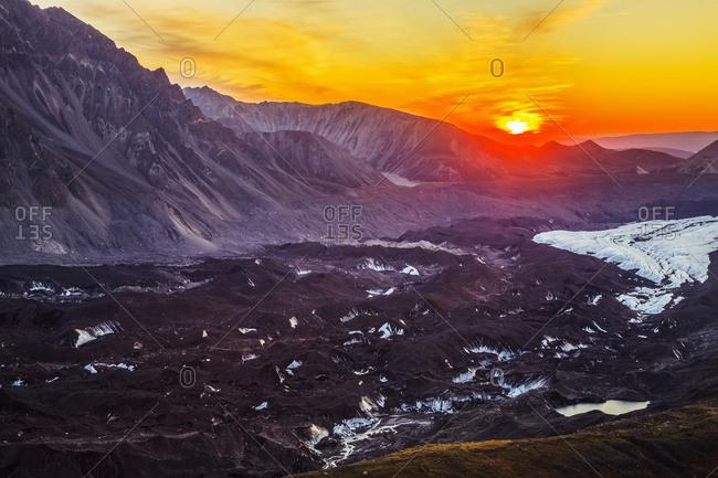 Alaska, United States of America - September 3, 2016: The Sun Sets Over The Muldrow Glacier In Denali National Park In Early Autumn; Alaska, United States Of America