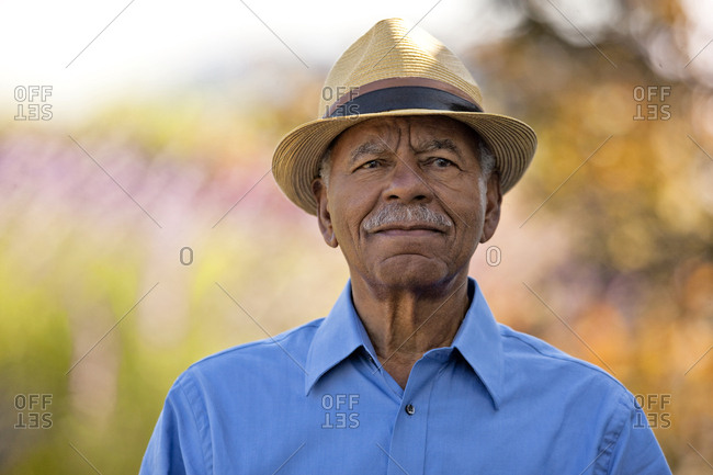 Portrait of senior man wearing his hat.
