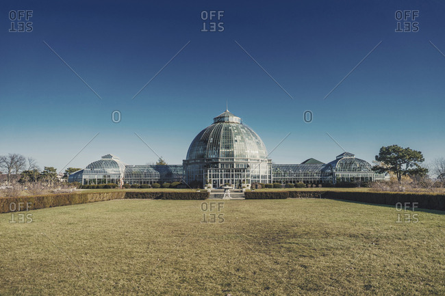 USA, Michigan, Detroit - December 3, 2017: Belle Isle Conservatory against clear blue sky