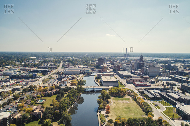 USA, Lansing - September 23, 2017: Aerial view of cityscape against sky during sunny day
