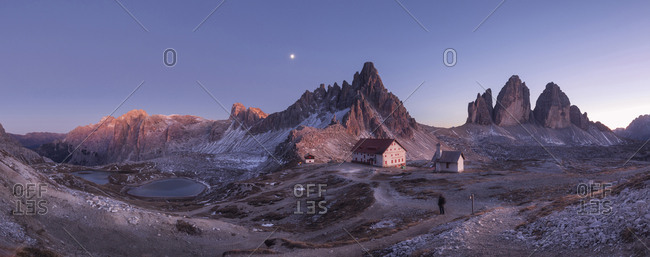 Italy, Alps - October 30, 2017: Scenic view of Tre Cime Di Lavaredo against sky at dusk