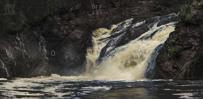 Waterfall flowing over rocks at Ironwood