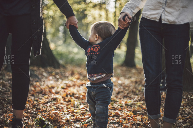 Midsection of lesbian mothers holding son's hands at park during autumn