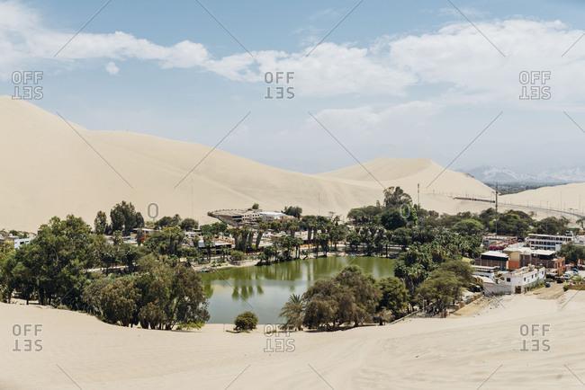 View of desert oasis Huacachina