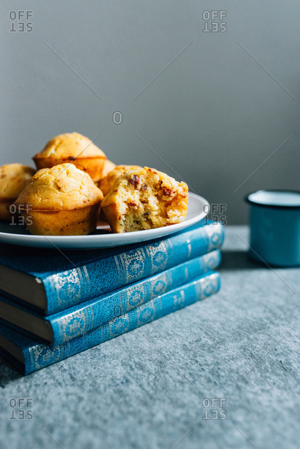 Delicious cornbread on blue books