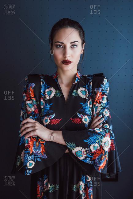 Fashion portrait of brunette girl in dress