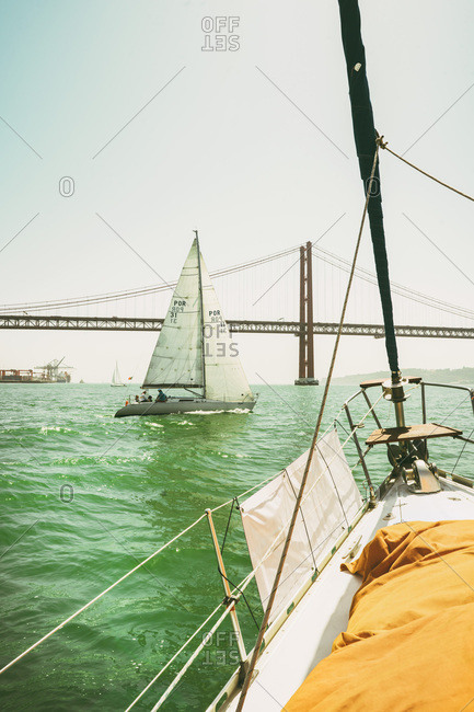 Lisbon, Portugal - 12 June 2017: View from a sailboat in the harbor