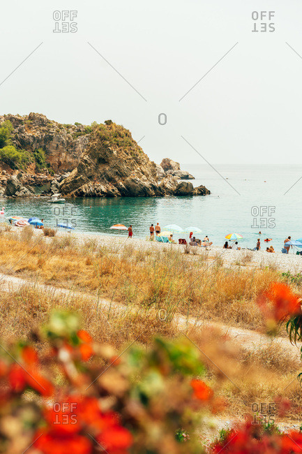 Spain - 12 March 2018: People enjoying the beach