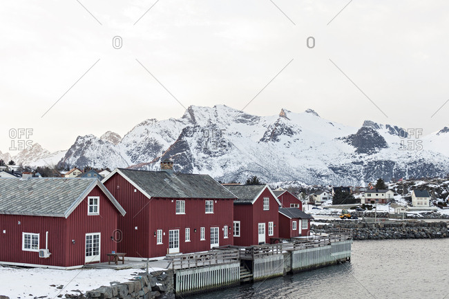 Red houses in Kabelvag, Norway