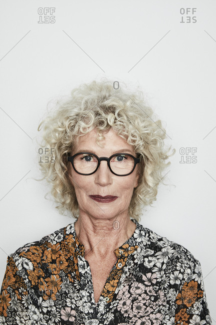 Portrait of blond mature woman