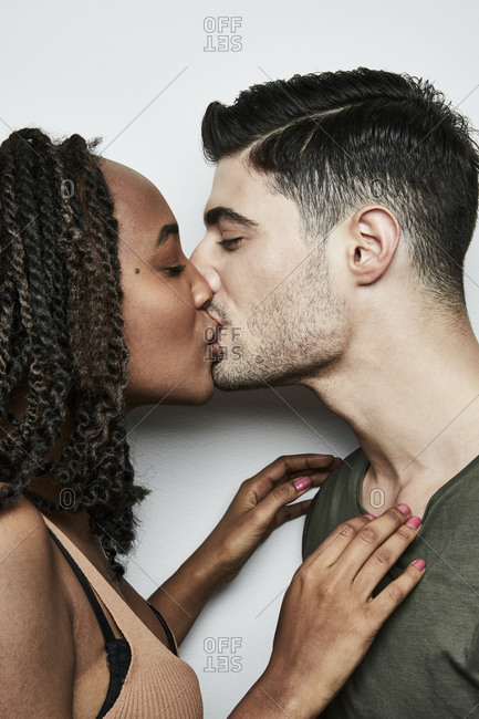 Black and white girls kissing